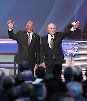 South African President Jacob Zuma with FIFA president Joseph S Blatter during the FIFA Final Draw for the FIFA World Cup 2010 South Africa held at the Cape Town International Convention Centre (CTICC) on December 4,  2009.