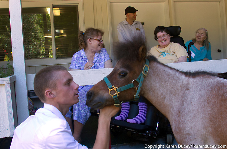 James Driscoll, left, handles Milo, a dwarf miniature horse while they visit with residents at the Park Ridge Skilled Nursing Center in Shoreline, Washington on July 10, 2014. Veterinarian Dana Bridges Westerman with professional Equine Therapeutic arranges the therapy visit every year.