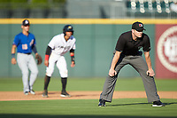 Third base umpire Adam Beck during the International League game between the Durham Bulls and the Charlotte Knights at BB&T BallPark on July 4, 2018 in Charlotte, North Carolina. The Knights defeated the Bulls 4-2.  (Brian Westerholt/Four Seam Images)