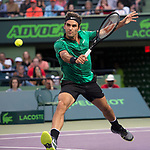 March 31 2017:  Roger Federer (SUI) defeats Nick Kyrgios (AUS) by 7-6, 6-7, 6-7 at the Miami Open being played at Crandon Park Tennis Center in Miami, Key Biscayne, Florida.