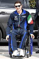 Roma 13-3-2019 Centro Federale di Ostia <br /> Swimmer Manuel Bortuzzo arrives at Ostia swimming federal center for a meeting with the press. Manuel Bortuzzo was shot in the back due to a mistaken identity and is paralysed from the waist down since then. This is the first outing of Manuel from the hospital and the rehabilitation center.  <br /> Foto Andrea Staccioli / Deepbluemedia / Insidefoto