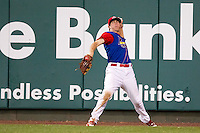 James Rapoport (27) of the Springfield Cardinals throws a ball back to the infield during a game against the Corpus Christi Hooks at Hammons Field on August 13, 2011 in Springfield, Missouri. Springfield defeated Corpus Christi 8-7.  (David Welker / Four Seam Images)