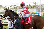 DEL MAR, CA  AUGUST 17: #1 Cambier Parc, ridden by John Velazquez, returns to congratulations from the connectionsi after winning the Del Mar Oaks (Grade 1) on August 17, 2019 at Del Mar Thoroughbred Club in Del Mar, CA.  . (Photo by Casey Phillips/Eclipse Sportswire/CS\PDO1M)\PDO1