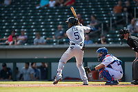 Peoria Javelinas shortstop Lucius Fox (5), of the Tampa Bay Rays organization, at bat in front of catcher P.J. Higgins (12) and home plate umpire Blake Carnahan during an Arizona Fall League game against the Mesa Solar Sox at Sloan Park on October 11, 2018 in Mesa, Arizona. Mesa defeated Peoria 10-9. (Zachary Lucy/Four Seam Images)