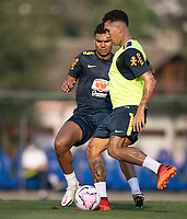 7th October 2020; Granja Comary, Teresopolis, Rio de Janeiro, Brazil; Qatar 2022 qualifiers; Roberto Firmino and Casemiro of Brazil during training session