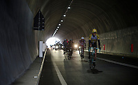 the breakaway group in the Turchino tunnel with Maarten Tjallingii (NLD/LottoNL-Jumbo) in front<br /> <br /> 106th Milano - San Remo 2015