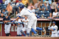 Durham Bulls shortstop Hak-Ju Lee #2 swings at a pitch during a game against the Toledo Mud Hens at Durham Bulls Athletic Park on July 25, 2014 in Durham, North Carolina. The Mud Hens defeated the Bulls 5-3. (Tony Farlow/Four Seam Images)