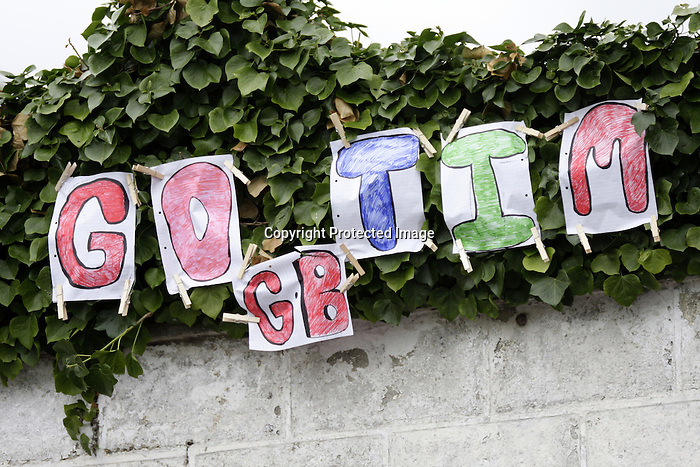 August 09, 2009: Fans of Tim Stockdale (GBR) declare their allegiance. Longines International Grand Prix. Failte Ireland Horse Show. The RDS, Dublin, Ireland.