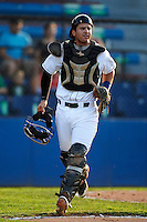 Jamestown Jammers catcher Sharif Othman #21 during game two of a NY-Penn League doubleheader against the Batavia Muckdogs at Russell Diethrick Park on September 5, 2012 in Jamestown, New York.  Jamestown defeated Batavia 3-2.  (Mike Janes/Four Seam Images)
