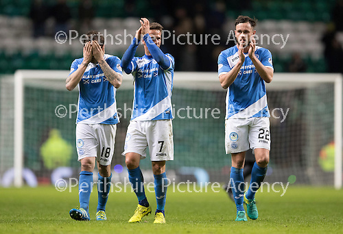 Celtic v St Johnstone…25.01.17     SPFL    Celtic Park<br />Paul Paton, Chris Millar and Keith Watson applaud the saints fans at full time<br />Picture by Graeme Hart.<br />Copyright Perthshire Picture Agency<br />Tel: 01738 623350  Mobile: 07990 594431