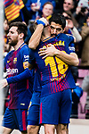 Luis Suarez of FC Barcelona (R) celebrating a score with his teammates during the La Liga 2017-18 match between FC Barcelona and RC Celta de Vigo at Camp Nou Stadium on 02 December 2017 in Barcelona, Spain. Photo by Vicens Gimenez / Power Sport Images