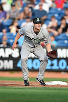 Dayton Dragons first baseman Daniel Pigott (30) during a game against the Lake County Captains on June 7, 2014 at Classic Park in Eastlake, Ohio.  Lake County defeated Dayton 4-3.  (Mike Janes/Four Seam Images)