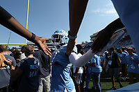 CHAPEL HILL, NC - SEPTEMBER 28: Chris Collins #17 of the University of North Carolina interacts with fans in the stands during a game between Clemson University and University of North Carolina at Kenan Memorial Stadium on September 28, 2019 in Chapel Hill, North Carolina.