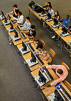 Students working in a computer lab at Myers Park High School in Charlotte, NC, (Mecklenburg County). Myers Park High School is part of CMS, Charlotte-Mecklenburg Schools, a public school system that is the second-largest school district in North Carolina and the 20th-largest school system in the nation.