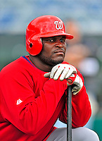 6 March 2009: Washington Nationals' outfielder Leonard Davis prepares to take batting practice prior to a Spring Training game against the Baltimore Orioles at Fort Lauderdale Stadium in Fort Lauderdale, Florida. The Orioles defeated the Nationals 6-2 in the pre-season Grapefruit League matchup. Mandatory Photo Credit: Ed Wolfstein Photo
