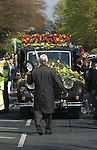 Jade Goody Funeral April 4 2009. TV Reality Star funeral service hearst arrives at St Johns Chuch Buckhurst Hill Essex England. Barry Albin-Dyer Funeral Director from Bermondsey London leads funeral cortege