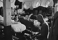 Ecole Militaire d'Infanterie de Cherchell, Algérie, June 1960. 1960. EOR (Eleves Officiers de Reserves). Typical room in the military school. Sunday is time for rest and cleaning.