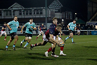 Luke Hibberd of London Scottish on the ball during the Greene King IPA Championship match between London Scottish Football Club and Nottingham Rugby at Richmond Athletic Ground, Richmond, United Kingdom on 7 February 2020. Photo by Carlton Myrie.