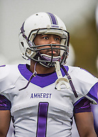 8 October 2016: Amherst College Purple & White Running Back Myles Gaines, a Senior from Bridgeport, CT, watches play from the sidelines during a game against the Middlebury College Panthers at Alumni Stadium in Middlebury, Vermont. The Panthers edged out the Purple & While 27-26. Mandatory Credit: Ed Wolfstein Photo *** RAW (NEF) Image File Available ***