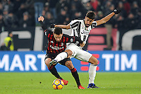 Calcio, quarti di finale di Tim Cup: Juventus vs Milan. Torino, Juventus Stadium, 25 gennaio 2017.<br /> AC Milan's Giacomo Bonaventura, left, is challenged by Juventus' Sami Khedira during the Italian Cup quarter finals football match between Juventus and AC Milan at Turin's Juventus stadium, 25 January 2017.<br /> UPDATE IMAGES PRESS/Manuela Viganti