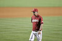 Arkansas head coach Dave Van Horn returns to the dugout after relieving pitcher Patrick Wicklander (33), Saturday, June 5, 2021 in the second game of the NCAA Fayetteville Regional at Baum-Walker Stadium in Fayetteville. Check out nwaonline.com/210606Daily/ for today's photo gallery. <br /> (NWA Democrat-Gazette/Charlie Kaijo)