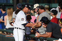 Lakeland Flying Tigers pitcher Julio Felix (29) signs autographs before a game against the Tampa Yankees on April 9, 2015 at Joker Marchant Stadium in Lakeland, Florida.  Tampa defeated Lakeland 2-0.  (Mike Janes/Four Seam Images)