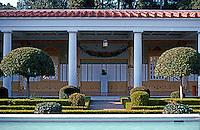 Malibu CA: J. Paul Getty Museum, Malibu, 1972-73.  Long axis across pool. Photo '86.