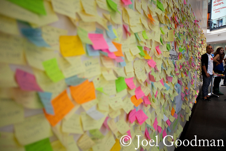 © Joel Goodman - 07973 332324 . 14/08/2011 . Manchester , UK . A wall in Manchester's Arndale Shopping Centre on which people post their own responses and feelings about looting and rioting in the city . Disorder spread to Manchester during a 4th night of rioting and looting on 9th August 2011 , following a protest against the police shooting of Mark Duggan in Tottenham . Photo credit : Joel Goodman