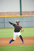 Derrick Newman (2) of Bishop O'Connell High School in Fort Washington, Maryland during the Under Armour All-American Pre-Season Tournament presented by Baseball Factory on January 15, 2017 at Sloan Park in Mesa, Arizona.  (Zac Lucy/MJP/Four Seam Images)