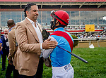 May 15, 2021: Medina Spirit owner Amr Zedan and jockey John Velazquez share a moment before the Preakness on Preakness Stakes Day at Pimlico Race Course in Baltimore, Maryland. Scott Serio/Eclipse Sportswire/CSM
