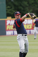 Right fielder Ryan Kalish of the Salem Red Sox throwing in the outfield before a game against  the Myrtle Beach Pelicans on May 3, 2009