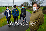 MKL Gaels ladies club, at the finish line of their virtual walk to Tir na nÓg Orphanage, in Tanzania from Keel. Front right: Keith Mc Guigan (Chairman of MKl Gaels). Back l to r: Tirna, Eden and Mary Murphy.