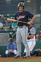 Kyle Bellows #10 of the Kinston Indians at bat during a game against the Myrtle Beach Pelicans on May 12, 2010 in Myrtle Beach, SC.