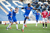 Michael Folivi, Colchester United celebrates the equalising goal during Colchester United vs Morecambe, Sky Bet EFL League 2 Football at the JobServe Community Stadium on 19th December 2020