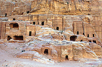 Jordan. Petra. The archeological site is part of the UNESCO world heritage project.  The Nabataeans were an arabian industrious tribe which settled down in southern Jordan 2000 years ago. Petra is located at the bottom of a spectacular deep gorge surrounded by mountains. © 2002 Didier Ruef