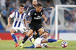 Real Sociedad's David Concha (l) and Asier Illarramendi (r) and Real Madrid's Mateo Kovacic during La Liga match. August 21,2016. (ALTERPHOTOS/Acero)