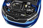 Car Stock 2015 Skoda Fabia Ambition 5 Door Hatchback Engine high angle detail view