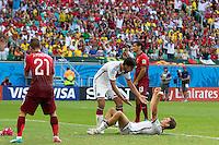 Thomas Muller of Germany celebrates scoring his hattrick goal after making it 4-0