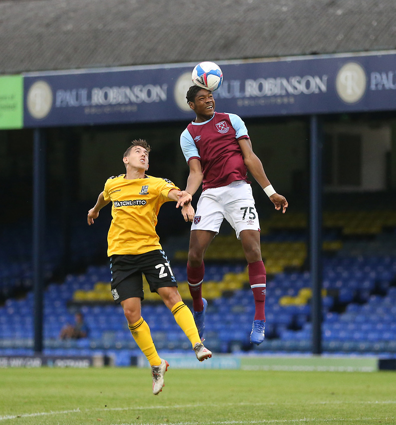 West Ham United's Jamal Baptiste and Southend United's Matt Rush<br /> <br /> Photographer Rob Newell/CameraSport<br /> <br /> EFL Trophy Southern Section Group A - Southend United v West Ham United U21 - Tuesday 8th September 2020 - Roots Hall - Southend-on-Sea<br />  <br /> World Copyright © 2020 CameraSport. All rights reserved. 43 Linden Ave. Countesthorpe. Leicester. England. LE8 5PG - Tel: +44 (0) 116 277 4147 - admin@camerasport.com - www.camerasport.com