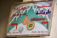 Afrique/Afrique du Nord/Maroc/Fèz: Médina de Fèz-El-Bali enseigne d'un restaurant Palais Tariana