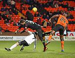 30.11.2018 Dundee Utd v Ayr Utd: Matej Rakovan fouls Michael Moffat for penalty