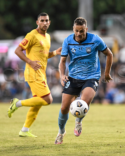 18th April 2021; Leichardt Oval, Sydney, New South Wales, Australia; A League Football, Sydney Football Club versus Adelaide United; Bobo of Sydney runs onto the through ball as George Timotheou of Adelaide United watches