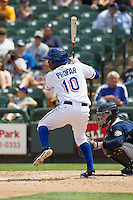 Round Rock Express shortstop Jurickson Profar #10 at bat against the New Orleans Zephyrs in the Pacific Coast League baseball game on April 21, 2013 at the Dell Diamond in Round Rock, Texas. Round Rock defeated New Orleans 7-1. (Andrew Woolley/Four Seam Images).