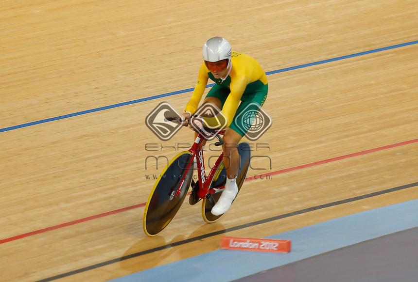Michael Gallagher (AUS) during his qualifying session for the Men's Individual C5 Pursuit, Track Cycling (Sat 1 Sep) - Velodrome,Paralympics - Summer / London 2012, London, England 29 Aug - 9 Sept , © Sport the library/Greg Smith
