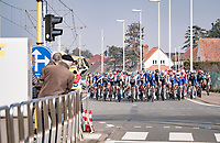 peloton negotiating multiple narrowings at high speed<br /> <br /> 45th Oxyclean Classic Brugge-De Panne 2021 (ME/1.UWT)<br /> 1 day race from Bruges to De Panne (204km)<br /> <br /> ©kramon