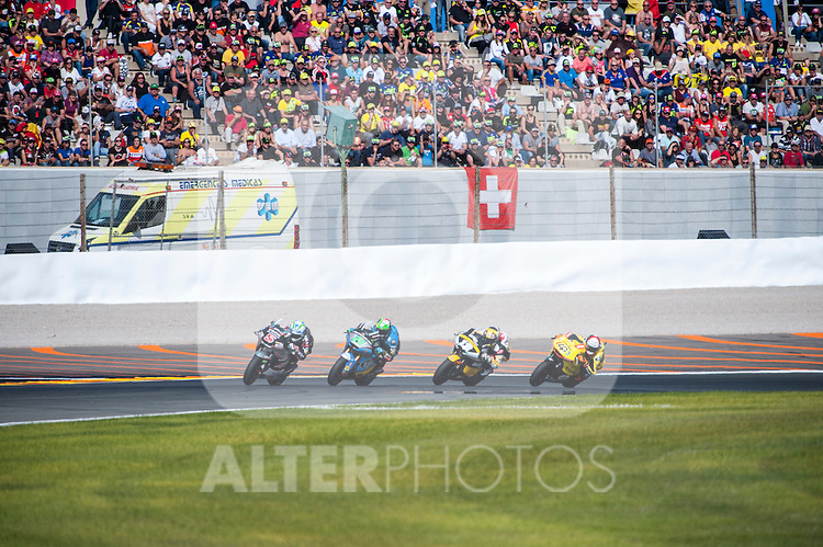 VALENCIA, SPAIN - NOVEMBER 11: Johann Zarco, Franco Morbidelli, Thomas Luthi, Alex Rins during Valencia MotoGP 2016 at Ricardo Tormo Circuit on November 11, 2016 in Valencia, Spain