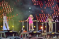Spice Girls.Melanie Chisholm aka Sporty Spice , Emma Bunton aka Baby Spice , Melanie Brown aka Scary Spice .Londra 12/08/2012 Olympic Stadium.London 2012 Olympic Games Closing Ceremony.Olimpiadi Londra 2012 Cerimonia d chiusura.Foto Insidefoto Giovanni Minozzi.