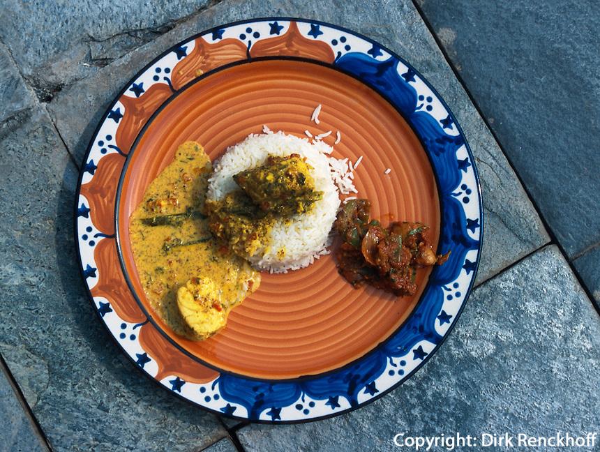 Indien, Rajasthan, Jaipur.Restaurant im Hotel Rajvilas.Bektifisch mit Senfsoße