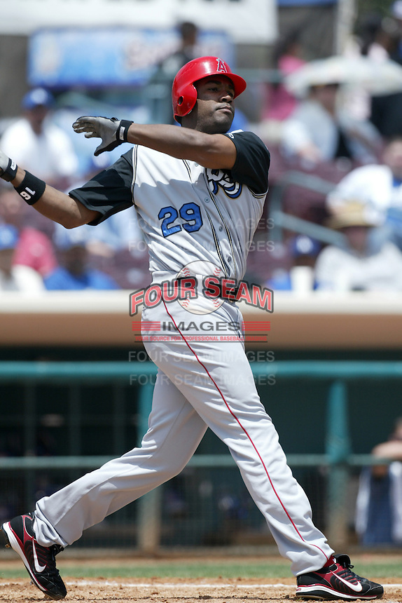 Garret Anderson of the Los Angeles Angels plays for the Rancho Cucamonga Quakes on a MLB rehabilitation assingment during a California League baseball game on May 30, 2007 at San Manuel Stadium in San Bernardino, California. (Larry Goren/Four Seam Images)