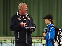 Rotterdam, The Netherlands, 07.03.2014. NOJK ,National Indoor Juniors Championships of 2014, Reporting to umpire  Allard Eeverts<br /> Photo:Tennisimages/Henk Koster